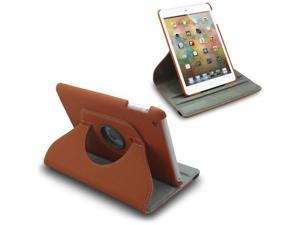 For iPad Mini 360 Degree Rotating PU Leather Case Cover Swivel Stand Brown