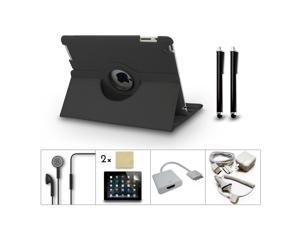 Bundle 10in1 Accessory for iPad 3 2 Case Charger Earphone Film HDMI Dock Black