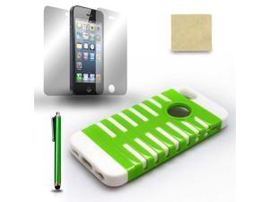 For iPhone 5 White Green Combo Hard Rubber Case Cover + Film + Stylus Pen