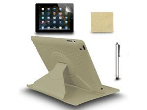 90° Rotating Swivel Stand Case Cover +Screen Film +Stylus Pen For iPad 3 2 Gray