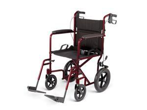 Medline MDS808210ARE Deluxe Aluminum  Wheelchair, Red Case Of 1 CS