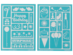 "Martha Stewart Adhesive Stencils 2 Sheets/Pkg-Birthday Cheers 5-3/4""X7-3/4"" 25 Designs"