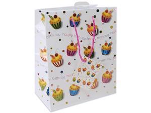 "Foil Gift Bags 10-1/2""X5-3/8""X13""-Birthday Cupcake"