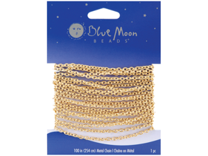 "Blue Moon Fine Cable Chain 100"" 1/Pkg-Gold"