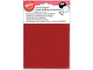 "Foil Candy Wrappers 4""X4"" 50/Pkg-Red"
