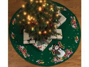 Bucilla 86307 Candy Snowman Tree Skirt Felt Applique Kit-43 in. Round