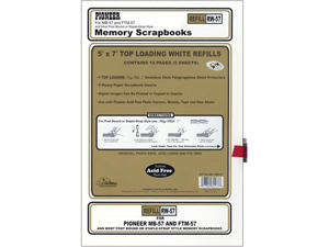 "Postbound Top Loading Page Protectors 5/Pkg-5""X7"" (With White Inserts)"