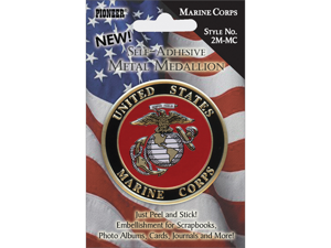 "Military Self Adhesive Metal Medallion 2""-Marine Corp"