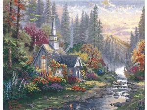 "Thomas Kinkade Forest Chapel Counted Cross Stitch Kit-14""X11"" 14 Count"