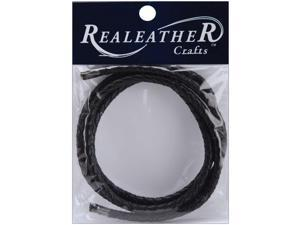 "Round Braided Leather 5mm 40""-Black"