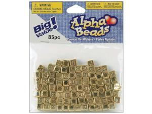 Alphabet Beads 6mm 85/Pkg-Gold Plated