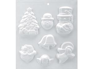 "Soapsations Soap Mold 8""X9""-2 Snowmen/Bell/Tree/Santa/Cherub/Angel"