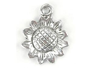 Blue Moon Silver Plated Metal Charms-Sunflower 12/Pkg