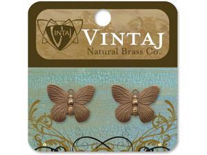 Vintaj Metal Charms 2/Pkg-Butterfly 19x15mm