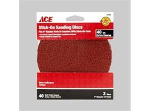"3 PC ACE 40 Grit Stick On Sanding Disc  5"" NEW ACE 27923 082901279235"