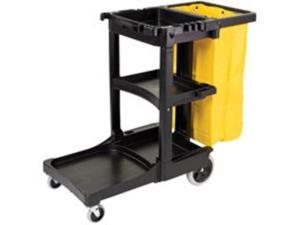Rubbermaid Commercial Products RCP617388 Janitor Cart- 8in. Wheels- 4in. Casters- 21-.75in.x46in.x38-.38in.- Black