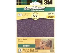4Pc 3M 60 Grit Sandblaster 1/4 Sanding Sheet 9660 3M 9660 051111547441