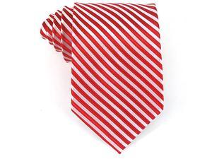 Bruno Piattelli Men's Fire Red Gray Formal Stripe Silk Neck Tie