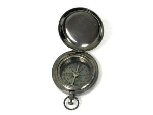 "1 3/4"" Brass Antique Finish Pocket Compass w/ Cover: Hiking and Camping"