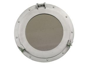"15"" Aluminum Porthole Mirror - Nautical Ship Decor"