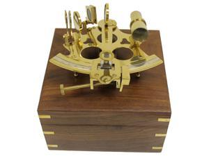 "6"" Brass Astrolabe Sextant with Decorative Wooden Box: Nautical"