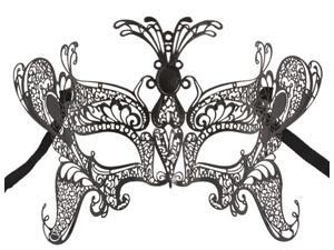 Black Metal Laser Cut Masquerade Butterfly Mask - Venetian Costume