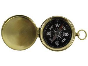 Hiking and Camping Brass Pocket Compass with Black Face
