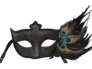 GOTHIC MASQUERADE MASK - Peacock Feathers - VENETIAN