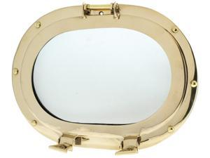 "12"" X 9"" Oval Porthole Window: Brass Nautical Ship Decor"