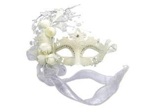 White Venetian Masquerade Ball Mask with Sparkled Designs and Roses