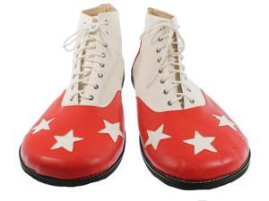 White and Red Pleather Star Clown Shoes - Fun Novelty Costume