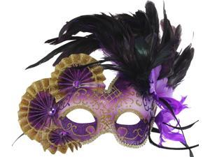 Venetian Purple and Silver Mask with Decorative Feathers