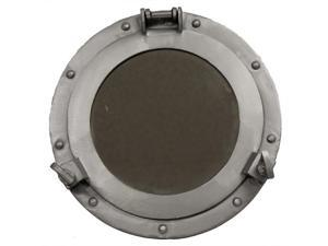 "11"" Aluminum Porthole Mirror - Nautical Ship Decor"