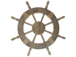 "24"" Pirate Ship Wheel - Wood with Rustic Finish - Nautical Decor"