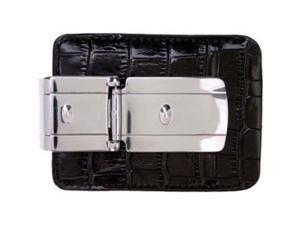 Money Clamp Zurich Silver With Black Croco Wallet Clip
