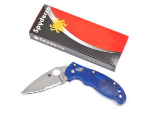 "Spyderco SSC101PSBL2 Knives Folder Knife Manix 2 Blue 4 5/8"" Closed 3 3/8"" Parti"