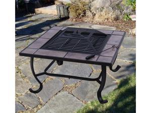 Steel Fire Pit Square BBQ Firepit Outdoor Patio Garden Grill
