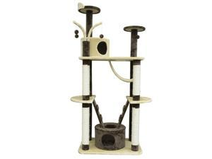 """Pawhut 71"""" Coffee / Cream Cat Tree Condo Pet Scratcher Furniture"""