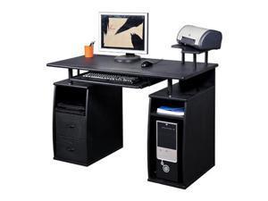 HomCom Small Home Office / Dorm Computer Desk w/ Elevated Shelf - Black