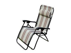 Outsunny Zero Gravity Recliner Lounge Patio Pool Chair - Brown / Tan Stripes