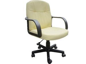 PU Leather Mid Back Computer Executive Office Chair Manager Seat(Cream)