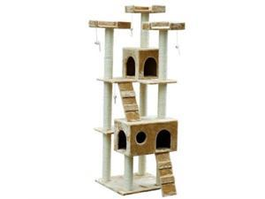 "Pawhut D2-0011 72"" Pet Tree Condo Cat Scratcher, Beige"