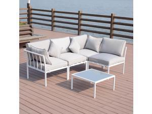 outsunny 4 piece outdoor patio sofa