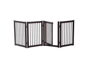 "Pawhut 30"" x 81"" 4 Panel Wooden Freestanding Adjustable Pet Safety Fence for Dogs with Gate"