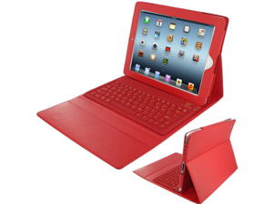 Skque Folding Leather Protective Bluetooth Keyboard Case Cover for iPad 1, iPad 2, Red