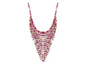 Skque Wood Wooden Beads Collar Fringe Tassel Chain Pendant Necklace, Hot Pink