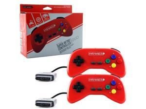Retro-Bit Super Retro RDP Duo Pack Wired Controller-Red for Super Nintendo Entertainment System