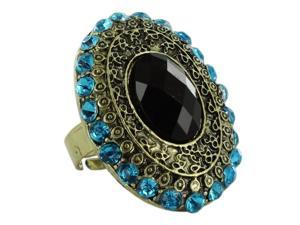 Skque Women Adjustable Ethnic Vintage Bronze Ellipse Black Gemstone Ring