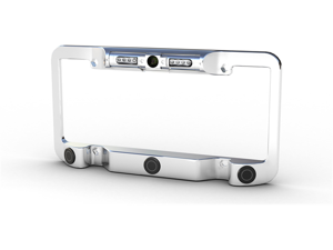 Power Acoustik LP-2CSC License Plate Frame (Chromed Metal) with Night Vision Camera and Back Up Collision Sensors (Patented)