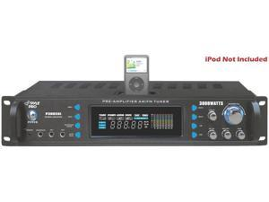 NEW PYLE P3002AI 3000W PROFESSIONAL HYBRID RECEIVER & DJ PRE AMPLIFIER IPOD DOCK